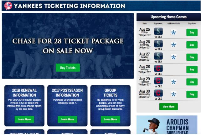 ヤンキースタジアムのチケット購入方法